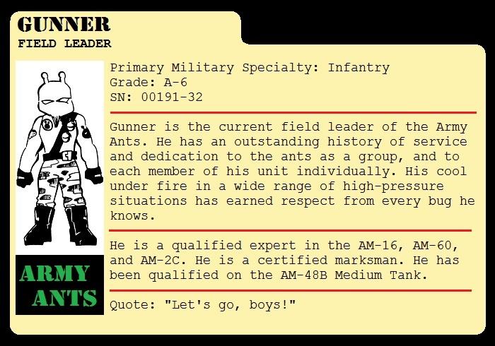 Gunner File Card